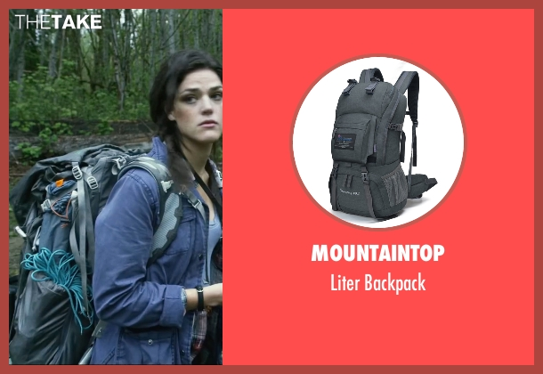 Mountaintop gray backpack from Blair Witch seen with Callie Hernandez (Lisa)