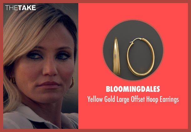 Bloomingdales gold earrings from The Counselor seen with Cameron Diaz (Malkina)
