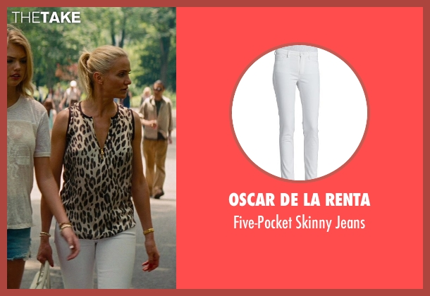 Oscar de la Renta white jeans from The Other Woman seen with Cameron Diaz (Carly Whitten)