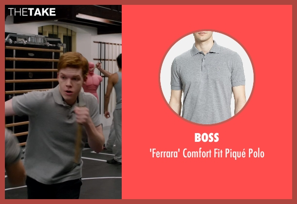 BOSS gray polo from Vampire Academy seen with Cameron Monaghan (Mason)