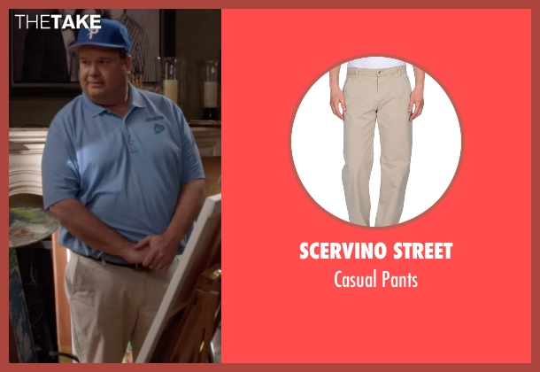 Scervino Street beige pants from Modern Family seen with Cameron Tucker  (Eric Stonestreet)
