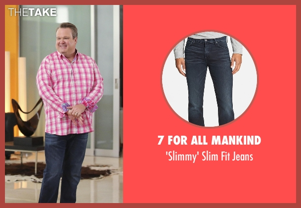 7 For All Mankind blue jeans from Modern Family seen with Cameron Tucker  (Eric Stonestreet)