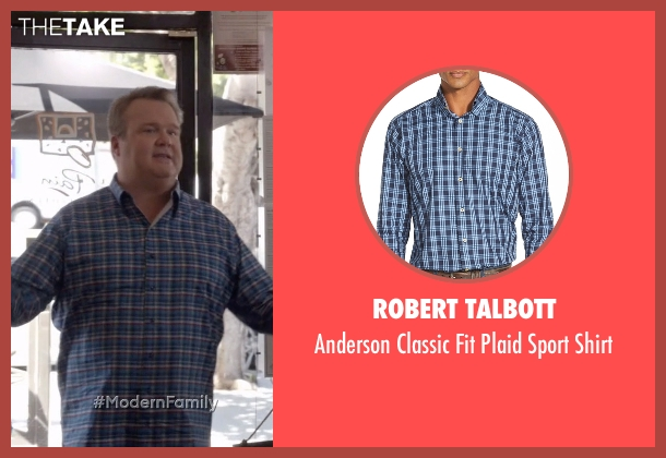 Robert Talbott blue shirt from Modern Family seen with Cameron Tucker  (Eric Stonestreet)