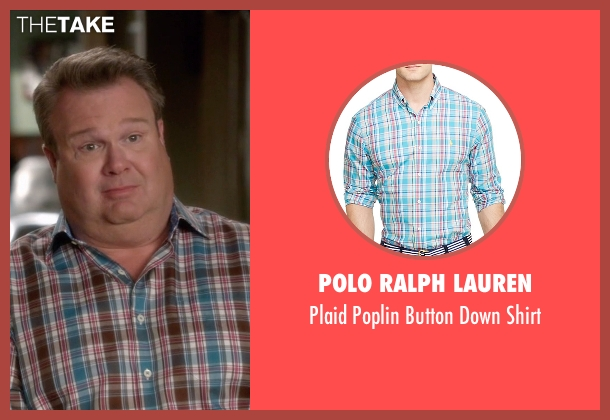 Polo Ralph Lauren blue shirt from Modern Family seen with Cameron Tucker  (Eric Stonestreet)