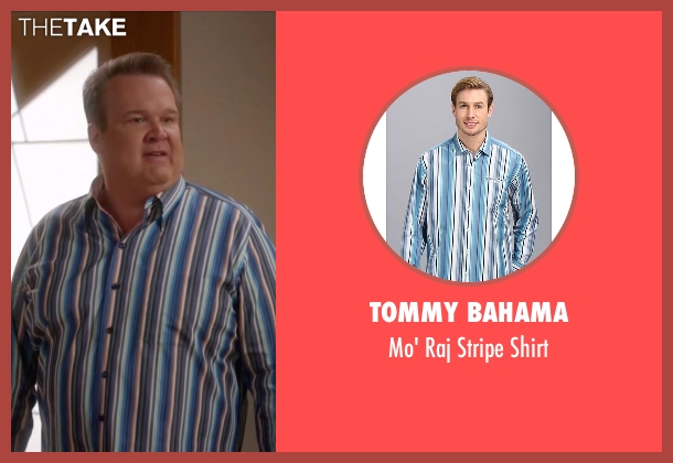 Tommy Bahama blue shirt from Modern Family seen with Cameron Tucker  (Eric Stonestreet)