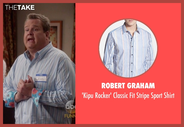 Robert Graham blue shirt from Modern Family seen with Cameron Tucker  (Eric Stonestreet)
