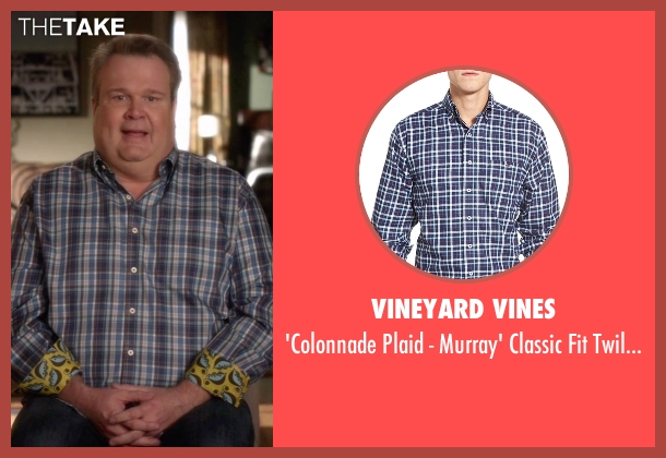 Vineyard Vines blue shirt from Modern Family seen with Cameron Tucker  (Eric Stonestreet)