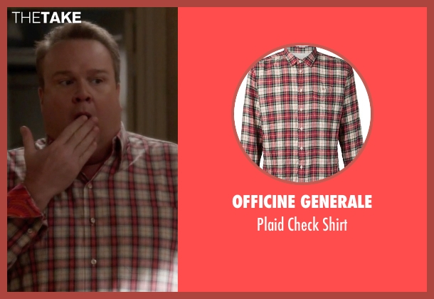 Officine Generale pink shirt from Modern Family seen with Cameron Tucker  (Eric Stonestreet)