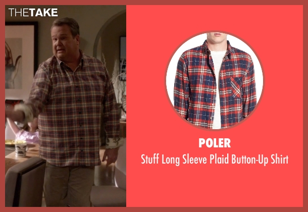 Poler red shirt from Modern Family seen with Cameron Tucker  (Eric Stonestreet)