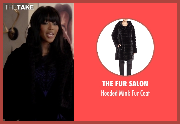 The Fur Salon black coat from Empire seen with Camilla Marks (Naomi Campbell)