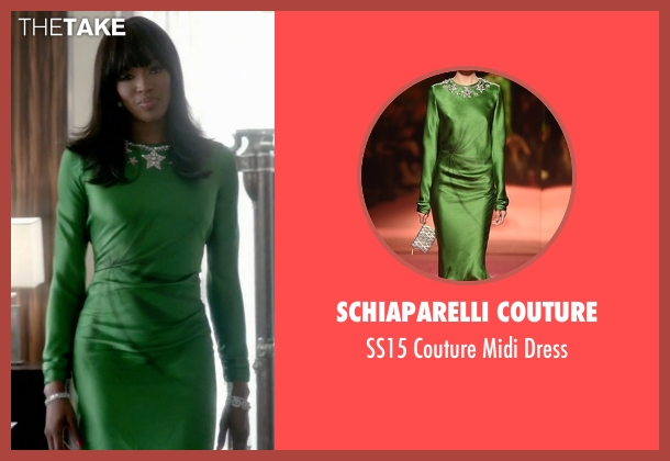 Schiaparelli Couture green dress from Empire seen with Camilla Marks (Naomi Campbell)