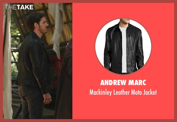 Andrew Marc black jacket from Once Upon a Time seen with Captain Hook / Killian Jones (Colin O'Donoghue)