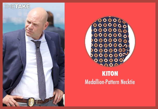 Kiton blue necktie from Rosewood seen with Captain Ira Hornstock (Domenick Lombardozzi)