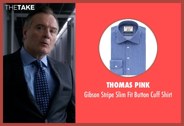 Thomas Pink blue shirt from Elementary seen with Captain Thomas Gregson (Aidan Quinn)