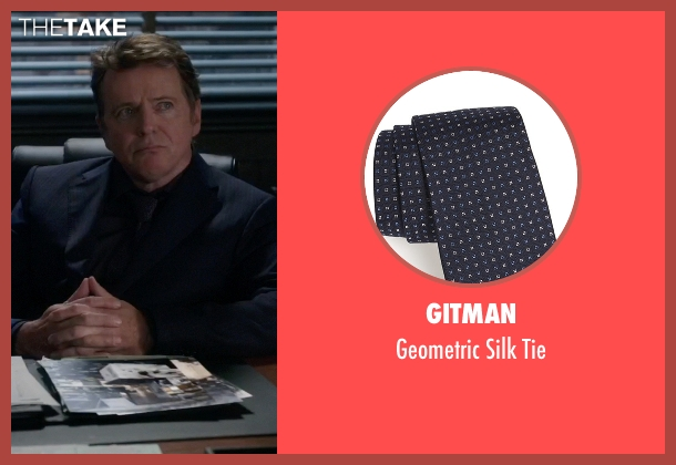 Gitman blue tie from Elementary seen with Captain Thomas Gregson (Aidan Quinn)