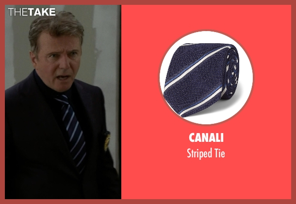 Canali blue tie from Elementary seen with Captain Thomas Gregson (Aidan Quinn)