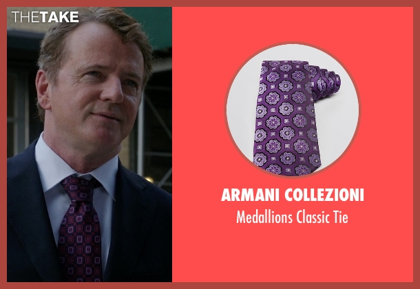 Armani Collezioni purple tie from Elementary seen with Captain Thomas Gregson (Aidan Quinn)
