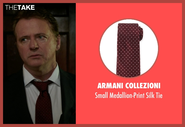 Armani Collezioni red tie from Elementary seen with Captain Thomas Gregson (Aidan Quinn)
