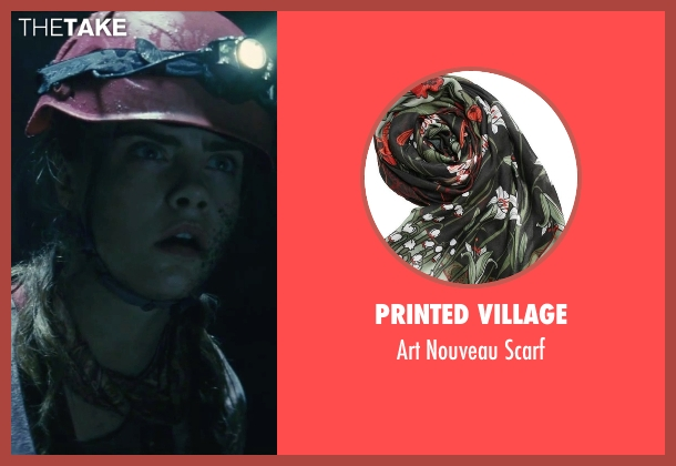 Printed Village  brown scarf from Suicide Squad seen with Cara Delevingne (Enchantress)