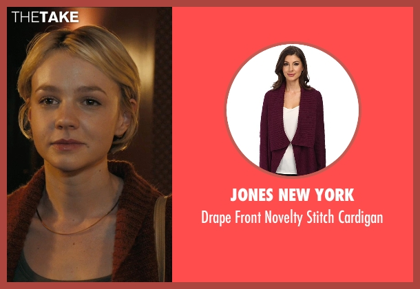 Jones New York red cardigan from Drive seen with Carey Mulligan (Irene)