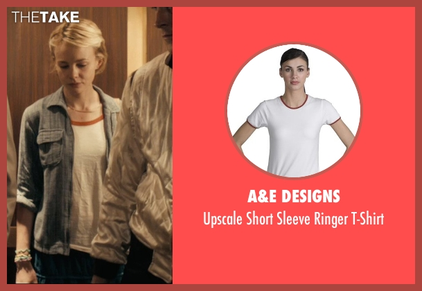 A&E Designs white t-shirt from Drive seen with Carey Mulligan (Irene)