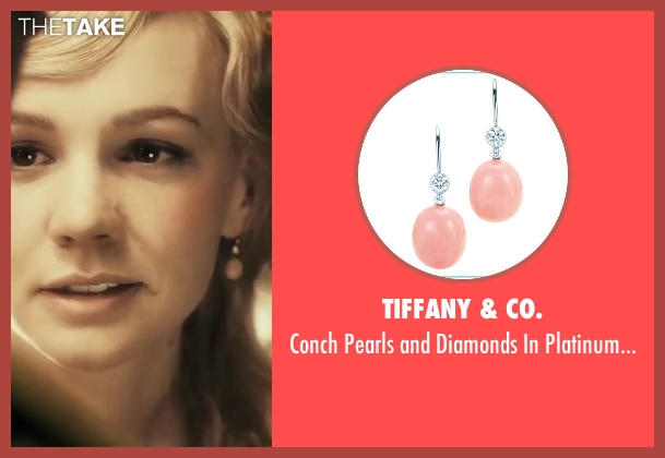 Tiffany & Co. pink earrings from The Great Gatsby seen with Carey Mulligan (Daisy Buchanan)