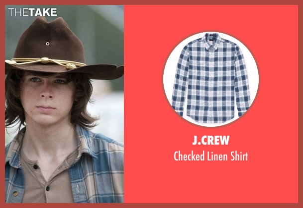 J.Crew blue shirt from The Walking Dead seen with Carl Grimes (Chandler Riggs)