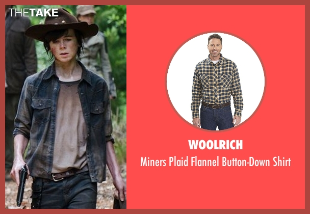 Woolrich blue shirt from The Walking Dead seen with Carl Grimes (Chandler Riggs)