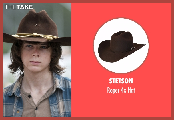 Stetson brown hat from The Walking Dead seen with Carl Grimes (Chandler Riggs)
