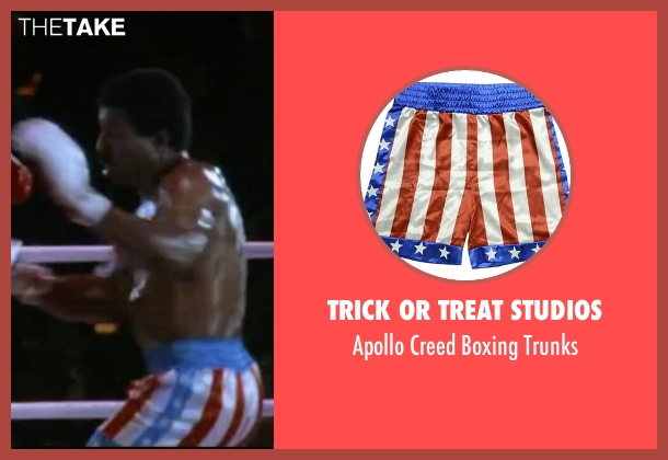 Trick Or Treat Studios trunks from Rocky IV seen with Carl Weathers (Apollo Creed)