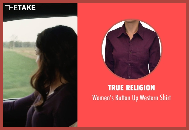 True Religion purple shirt from San Andreas seen with Carla Gugino (Emma)