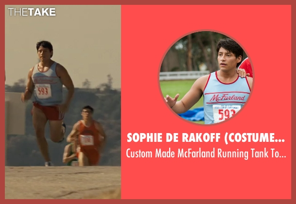 Sophie De Rakoff (Costume Designer) blue top from McFarland, USA seen with Carlos Pratts (Thomas)