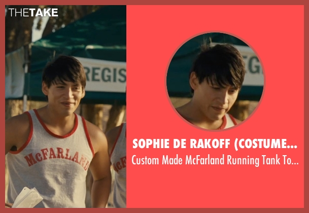 Sophie De Rakoff (Costume Designer) gray top from McFarland, USA seen with Carlos Pratts (Thomas)