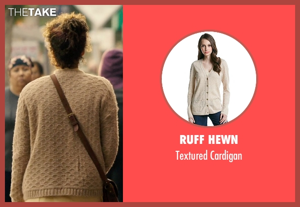 Ruff Hewn beige cardigan from The Purge: Anarchy seen with Carmen Ejogo (Eva Sanchez)