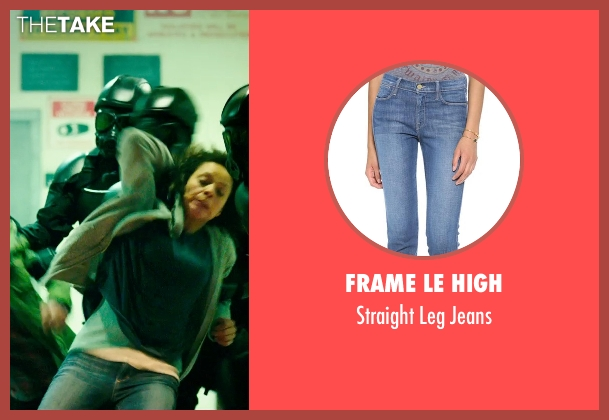 Frame Le High blue jeans from The Purge: Anarchy seen with Carmen Ejogo (Eva Sanchez)