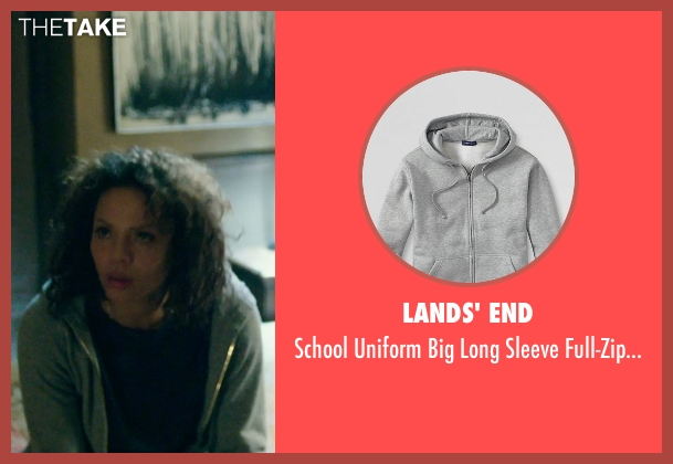 Lands' End gray sweatshirt from The Purge: Anarchy seen with Carmen Ejogo (Eva Sanchez)