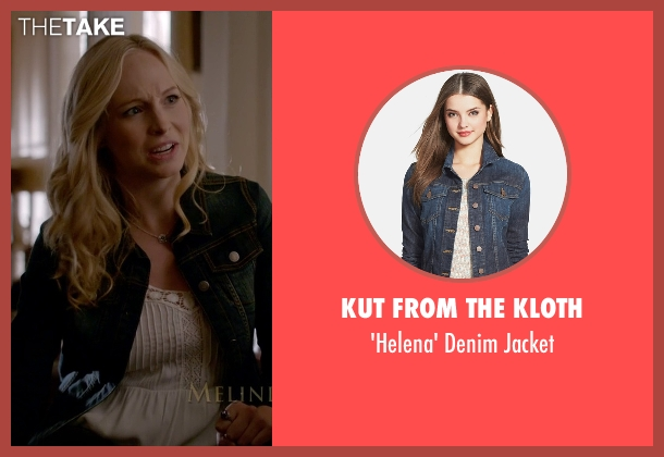 Kut From The Kloth blue jacket from The Vampire Diaries seen with Caroline Forbes (Candice Accola)