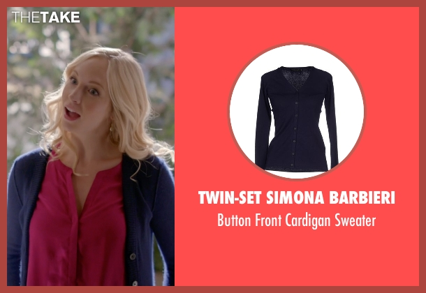 Twin-Set Simona Barbieri blue sweater from The Vampire Diaries seen with Caroline Forbes (Candice Accola)