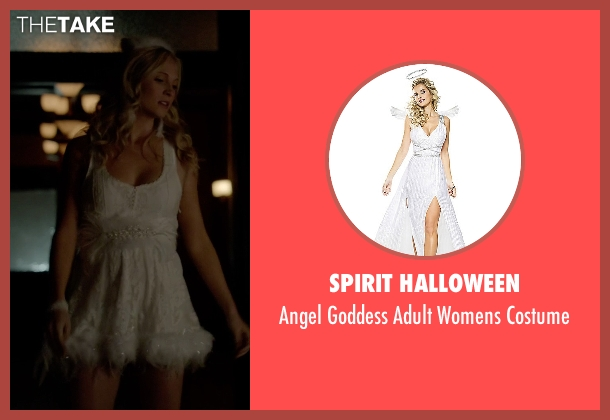 Spirit Halloween costume from The Vampire Diaries seen with Caroline Forbes (Candice Accola)