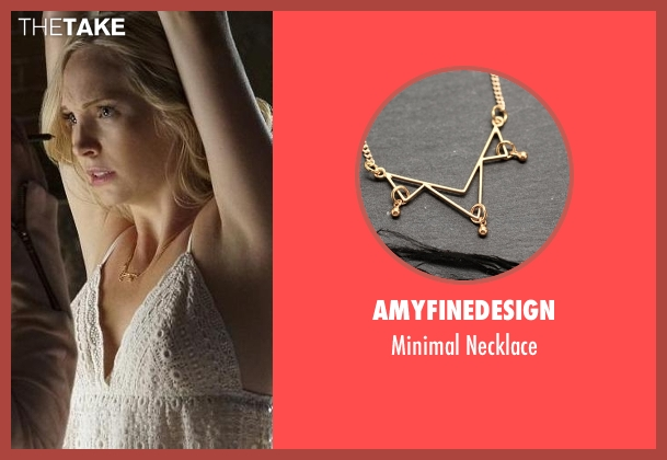 Amyfinedesign gold necklace from The Vampire Diaries seen with Caroline Forbes (Candice Accola)