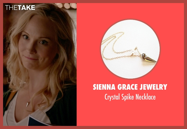 Sienna Grace Jewelry gold necklace from The Vampire Diaries seen with Caroline Forbes (Candice Accola)