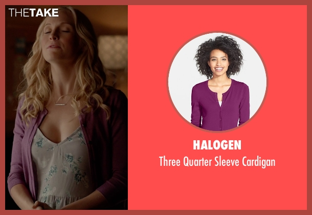 Halogen purple cardigan from The Vampire Diaries seen with Caroline Forbes (Candice Accola)