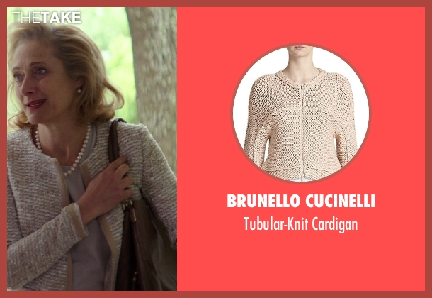 Brunello Cucinelli beige cardigan from The Best of Me seen with Caroline Goodall (Evelyn Caster)