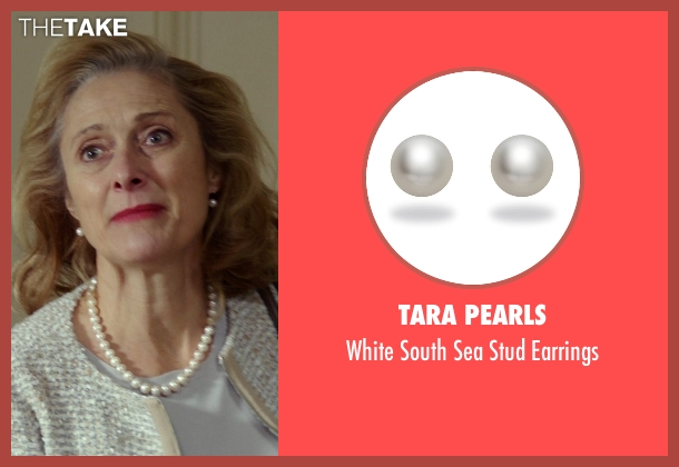 TARA Pearls white earrings from The Best of Me seen with Caroline Goodall (Evelyn Caster)