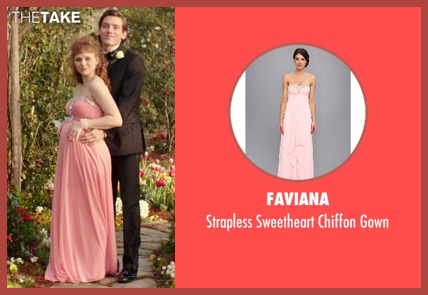 Faviana pink gown from The Best of Me seen with Caroline Hebert (Young April)