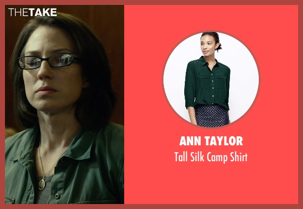 Ann Taylor green shirt from Gone Girl seen with Carrie Coon (Margo Dunne)