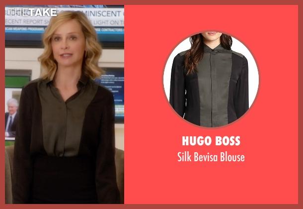 Hugo Boss black blouse from Supergirl seen with Cat Grant (Calista Flockhart)