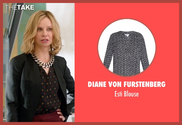 Diane Von Furstenberg black blouse from Supergirl seen with Cat Grant (Calista Flockhart)