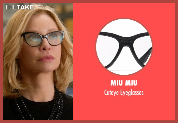 Prada black glasses from Supergirl seen with Cat Grant (Calista Flockhart)