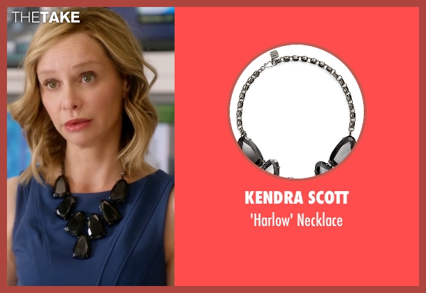 Kendra Scott black necklace from Supergirl seen with Cat Grant (Calista Flockhart)